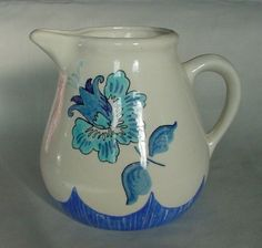 Very Pretty VINTAGE Blue & White Pottery Water Pitcher Flowers Tulip Daffodil