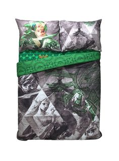 """Every hero needs sleep. After a full day of roaming Hyrule get some rest with this full/queen comforter. It features a <i>The Legend of Zelda: Skyward Sword</i> design. <br><br>Sheets and pillowcases not included.<br><ul><li style=""""list-style-position: inside !important; list-style-type: disc !important"""">100% polyester</li><li style=""""list-style-position: inside !important; list-style-type: disc !important"""">Wash cold; dry low</li><li style=""""list-style-position: inside !important…"""