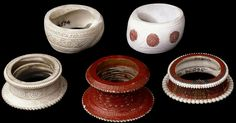 Bengal, 19th century | Bangles made from conch sell with red lac colouring