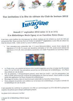Invitation to closing event - Bibliothèque Marie-Uguay, Notre-Dame-de-l'Île-Perrot QC