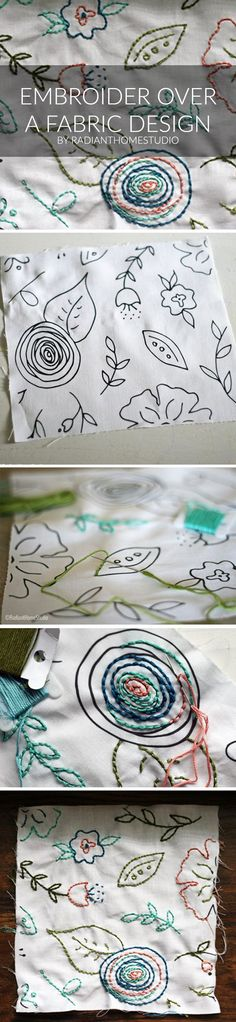 Embroider Over A Fabric Design - I've had this fabric swatch from one of my Spoonflower designs sitting on my sewing table for weeks. As soon as I received it, I knew I wanted to embroider it. Below, I'll show you how to embroider over a fabric design with a simple backstitch. You could design something specifically for embroidery and use Spoonflower to print it. (Though I'd recommend using a lighter gray color if you want to do that.)