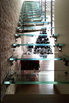 Escalera volada de acero inoxidable y vidrio TWIN Colección Escaleras by FARAONE   diseño Roberto Volpe