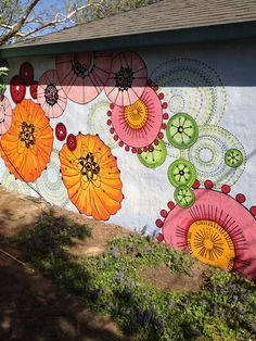 Mural on detached garage by Anna Shortley.