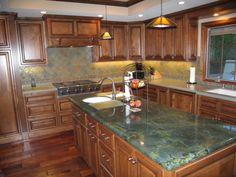 Golden Oak Kitchen Cabinets Granite Golden Wave Or