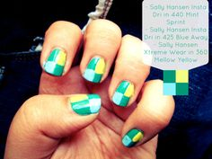 #IHeartMyNailArt color blocked nails with Sally Hansen!