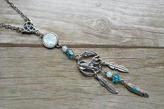Diosa Celta Espiral pagano medieval collar chapado en plata .925 Perlas De Piedra Lunar