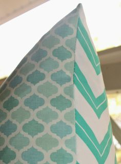Teal Decorative Pillows | Decorative Pillow Cover - 22 x 22 Teal Chevron Zig Zag Front and Aqua ...