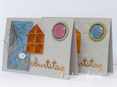 Männerkarte mit Geometric Prägefolder und Videoanleitung | Kreativwerkstatt Creative, Up, Coasters, Man Card, Creative Ideas, Invitations, Gifts, Crafting, Coaster