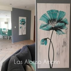 Small Canvas Paintings, Flower Painting Canvas, Diy Canvas Art, Easy Paintings, Learn To Paint, Diy Art, Flower Art, Abstract Art Paintings, Blue Flowers