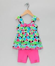 Take a look at this Pink Polka Dot Dress & Shorts - Infant, Toddler & Girls by Nannette on #zulily today!