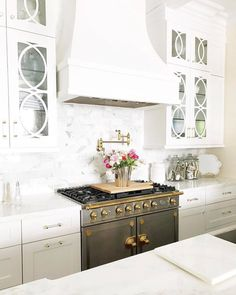 White Kitchen with Old Style Oven + Stove Top