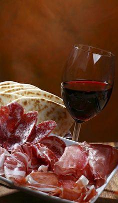 salumi,piadina e vino...skip the vino, make it ice cold blood orange San Pellegrino!