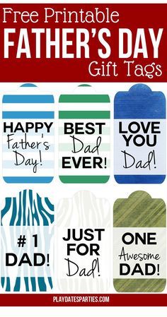 With 6 different masculine designs to choose from, these printable Father's Day gift tags are perfect for all the Dads in your life. Choose from bold stripes, vintage paper patterns, or even woodsy faux bois in blues, greens and grays.