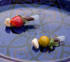 Caprese Salad Skewer : Pajos Boutique Catering again. Love the idea of squirting the balsamic directly into your mouth using an 'en pipette' technique (if slightly pretentiously named!)