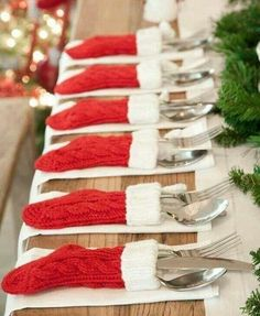 Cute idea for Christmas table setting