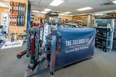 Inside Rack N Road Seattle, WA showing off our  Yakima and Thule custom rack solutions. All stores have Master Technicians on staff that will create and install your perfect custom solution.
