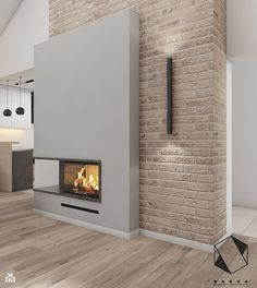 14 on Behance Home Fireplace, Modern Fireplace, Fireplace Design, Fireplaces, Hall And Living Room, Boho Living Room, Living Rooms, Karton Design, White Brick Walls