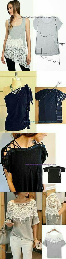 DIY Workout Shirt - Fashionable T Shirt - Ideas of Fashionable T Shirt - Diy t shirts Best T shirt refashion Diy shirt Refashioning Ideas Diy Fashion, Ideias Fashion, Fashion Design, Trendy Fashion, Fashion Ideas, Fashion Inspiration, Design Inspiration, Umgestaltete Shirts, Lace Shirts