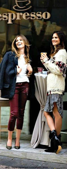 .talking with a friend and having some coffe