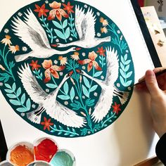 folk art painting, gouache and watercolour, illustrated swans and florals in folk style by Zanna Goldhawk
