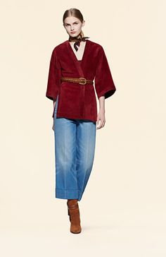 Gucci suede belted wrap jacket and washed denim gaucho pant