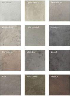 Beton ciré Lazenby recommend unique colours for their superior polished concrete installations. RAL colour matches available. Concrete Color, White Concrete, Stained Concrete, Diy Concrete, Concrete Kitchen Floor, Kitchen Flooring, Kitchen Backsplash, Gray Basement, Grey Floor Tiles