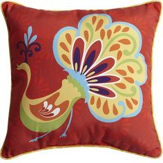 Pier One  - Peacock Pillow - Red: colors work with your umbrella and other cushions + could be cute a playful (for the girls!)