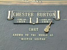 """""""Mister Guitar,"""" Chet Atkins is buried in Harpeth Cemetery in Nashville, Tennessee. In Memorian, Titanic Artifacts, Famous Tombstones, Chet Atkins, Grave Markers, Famous Graves, Good Ole, Cemetery, Country Music"""