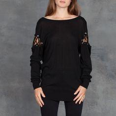 da7387f2f IRO Aluna Lace Up Sweater Knit in Black