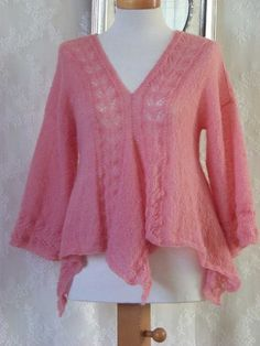 Bernolies Design on Etsy: Pink mohair lace top, knitting pattern, PDF    Maybe I should take knitting lessons. It looks very soft, it would be a delight to wear! (Though I would prefer a different colour).