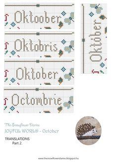 Dear Stitchers,   Hello October!  I am happy to present you the October pattern of my Joyful World primitive cross stitch calendar!:-) ...