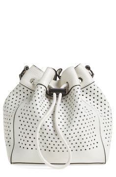 8ebd6623b23e Perforations detail this leather bucket bag featuring an interior zip pouch  perfect for stowing smaller items