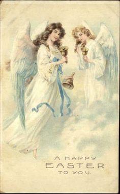 Easter Angels in Clouds Ringing Bells c1910 Embossed Postcard