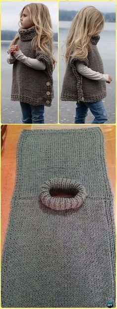Knit Azel Pullover Poncho Pattern By Heidi May - Knit Baby Sweater Outwear Free . - - Knit Azel Pullover Poncho Pattern By Heidi May - Knit Baby Sweater Outwear Free Patterns by Faby Posadas. Girls Poncho, Poncho For Kids, Toddler Poncho, Pull Bebe, Knit Baby Sweaters, Knitting Sweaters, Baby Knits, Girls Sweaters, Knitted Baby Clothes