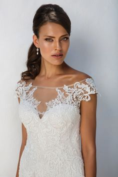 Justin Alexander Illusion Lace Off the Shoulder Fit and Flare Gown with Open Back