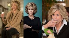 """Grace, played by Jane Fonda, is the put-together former cosmetics mogul who appears on boxes of hair dye at the grocery store and whose perfect hair, earth toned wardrobe and killer shoes is posh and designer, just like her home. Lily Tomlin says, """"It's pretty easy to flesh out Grace on a superficial level because her clothes are well chosen, they're tailored, they're coordinated, her hairdo and everything."""""""