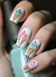 Ice Cream nails great for girls Happy Nails, Fun Nails, Pretty Nails, White Nail Designs, Cool Nail Designs, Fingernail Designs, Jolie Nail Art, Ice Cream Nails, Nail Picking