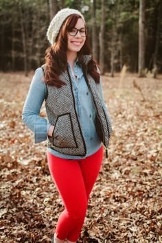Houndstooth vest, chambray, and red skinnies.