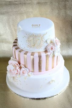 Pink, White and Gold - by guiltdesserts @ CakesDecor.com - cake decorating website
