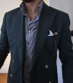 Men's White Pocket Square, Navy Double Breasted Blazer, White and Navy Gingham Longsleeve Shirt, and Grey Cardigan