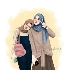 ✔ Drawing Of Girls Cute Friends Cute Cartoon Girl, Cute Love Cartoons, Cartoon Art, Best Friend Drawings, Bff Drawings, Drawing Sketches, Cover Wattpad, Hijab Drawing, Friends Illustration