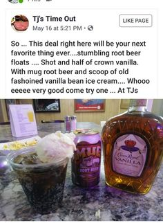 Crown Royal Vanilla Root Beer Floats (use diet root beer and halo top) Liquor Drinks, Cocktail Drinks, Cocktail Recipes, Bourbon Drinks, Cocktails, Beverages, Party Platters, Cheers, Just In Case