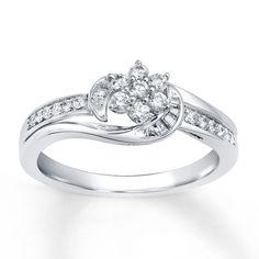 Diamond Engagement Ring 1/3 carat tw 10K White Gold