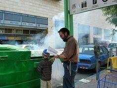 Burning chametz on a Jerusalem street