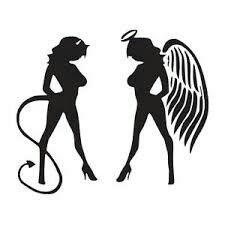 Standing sexy angel and devil decal decals sex