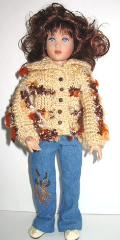 Kish Lark Hand knit sweater hand embroidery on jeans