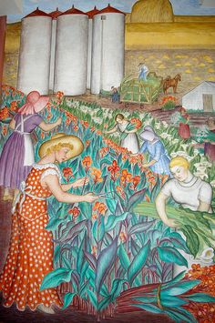 Mural titled California by Maxine Albro. The mural location is Coit Tower, North Beach. Murals Street Art, Mural Art, Coit Tower San Francisco, Wall Collage, Wall Art, Building Art, Grand Staircase, Flower Art, Printmaking