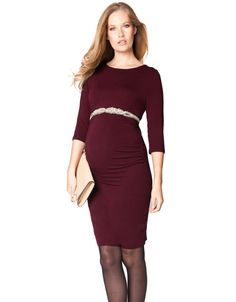 A rich wine red, this dress is a must have for your maternity wardrobe. A flattering body-con style and a chic boat neckline make this dress perfect for any occasion.