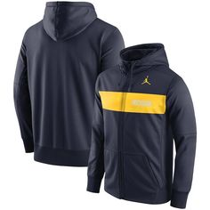 e4108534122 Michigan Wolverines Jordan Brand 2018 Sideline Seismic Performance Full-Zip  Hoodie – Navy