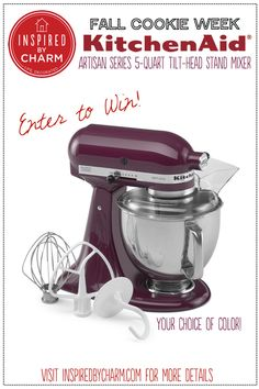 It's Fall Cookie Week on my blog Inspired by Charm! As a BIG THANK YOU for following along, I'm giving away a KitchenAid Mixer (in your choice of color)! Swing by the blog and enter to win: http://www.inspiredbycharm.com/2014/09/soft-pumpkin-sugar-cookies.html